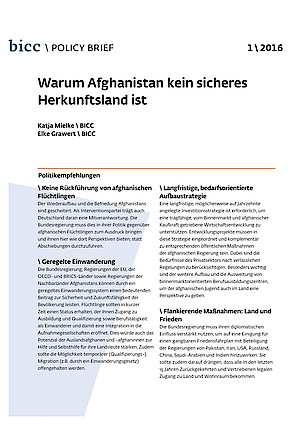BICC Publications/Why Afghanistan is No Safe Country of Origin